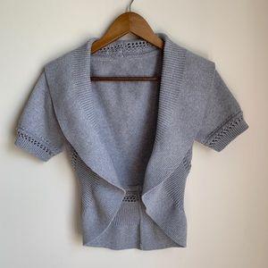 🆕 Grey Shawl Collar Cropped Circle Crochet Cardi